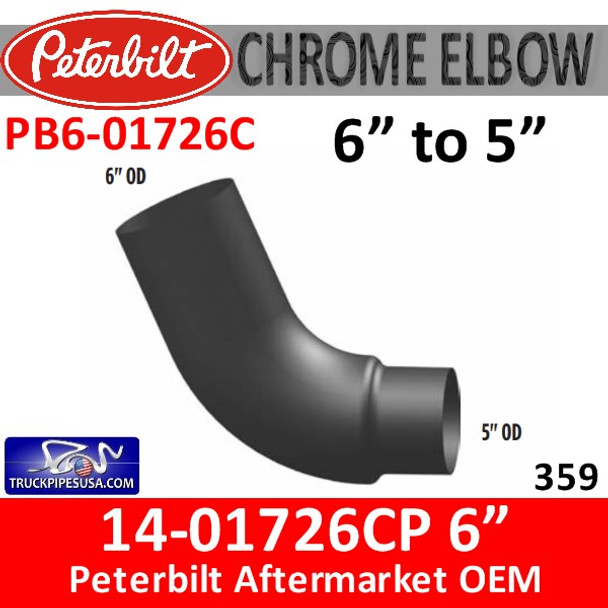 "14-01726 6"" to 5"" Peterbilt 379 Chrome Elbow"