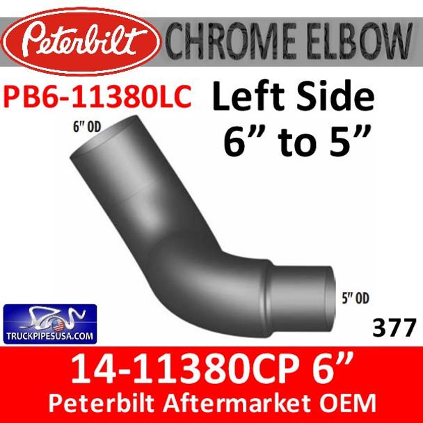 "14-11380CP 6"" to 5"" Left Side Peterbilt 377 Chrome Elbow PB6-11380"