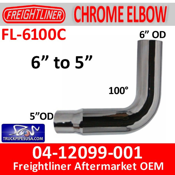 """04-12099-001 6"""" Freightliner Chrome 90 Elbow Reduced to 5"""" OD"""