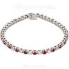 (NEW) Bella Couture Le ROSE' 3.25CT Diamond Ruby 14k White Gold Tennis Bracelet