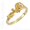 (NEW) BELLA COUTURE Fine Gorgeous Sculptural Realistic Rose & Leaf Floral Flower 14K Yellow Gold Ring