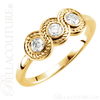 (NEW) BELLA COUTURE Fine Elegant Three Stone Diamond 14K Yellow Gold Ring Band (1/3 CT. TW.)