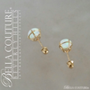 (VINTAGE) Rare Gorgeous Genuine 6.5MM Opal Gemstone 14K Yellow Gold Solitaire Earrings