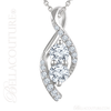 "(NEW) BELLA COUTURE FEDORA Pave Two Diamond 14K White Gold Pendant Necklace (18"" Inches) (5/8CT T.W.)"