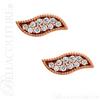 (NEW) BELLA COUTURE La VITA Demure Milgrain Leaf Diamond 14K Rose Gold Stud Earrings