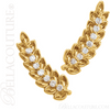 (NEW) BELLA COUTURE LOREE Diamond 14K Yellow Gold Leaf I Feather Earrings