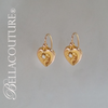 SOLD! - (ANTIQUE) Rare Gorgeous Victorian White Natural Freshwater Cultured Pearl 18K Yellow Gold Etched Heart Earrings c.1838 One of a Kind Fine Jewelry