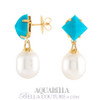 SOLD OUT! - NEW BELLA COUTURE AQUABELLA South Sea Pearl & Turquoise 18K White Gold Earrings