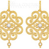 (NEW) BELLA COUTURE ETRUSCAN FILIGREE DIAMOND EARRINGS in 14K Yellow Gold