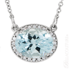 "(NEW) BELLA COUTURE HAMPTON Collection Fine Genuine Aquamarine Diamond 14k White Gold Pendant Necklace (18"" Inches in Length)"
