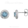 (NEW) Bella Couture Fine Aquamarine & 3/8 CT Diamond 14k White Gold Earrings