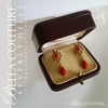 SOLD! - (ANTIQUE) RARE Gorgeous French 14K 14CT Yellow Gold Natural Coral Gemstone Charm Pendant Dangle Drop Earrings - One of a Kind - Fine Jewelry Jewellery
