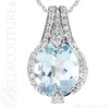 (NEW) BELLA COUTURE HAMPTON Collection Gorgeous Brilliant Aquamarine 1/5CT Diamond 14K White Gold Pendant (11x9mm)