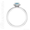 (NEW) BELLA COUTURE Le ROSA Fine Gorgeous Genuine Aquamarine Pave' Diamond PLATINUM Ring