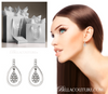(NEW) BELLA COUTURE BRIA Gorgeous Fine 1/4 CT Diamond 14K White Gold Double Dangle Drop Post Earrings