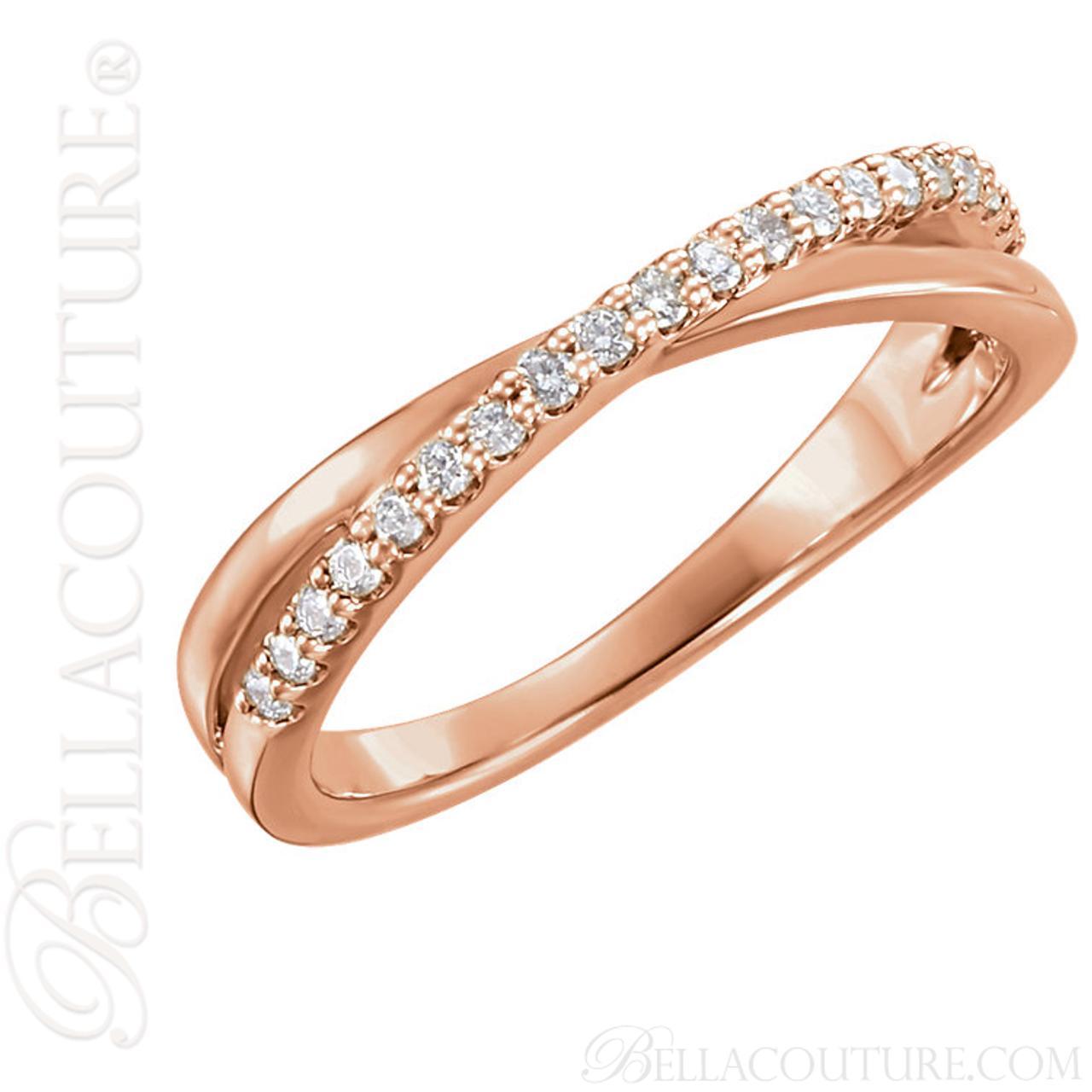 NEW BELLA COUTURE GENA Fine Gorgeous Diamond Criss Cross 14K Rose