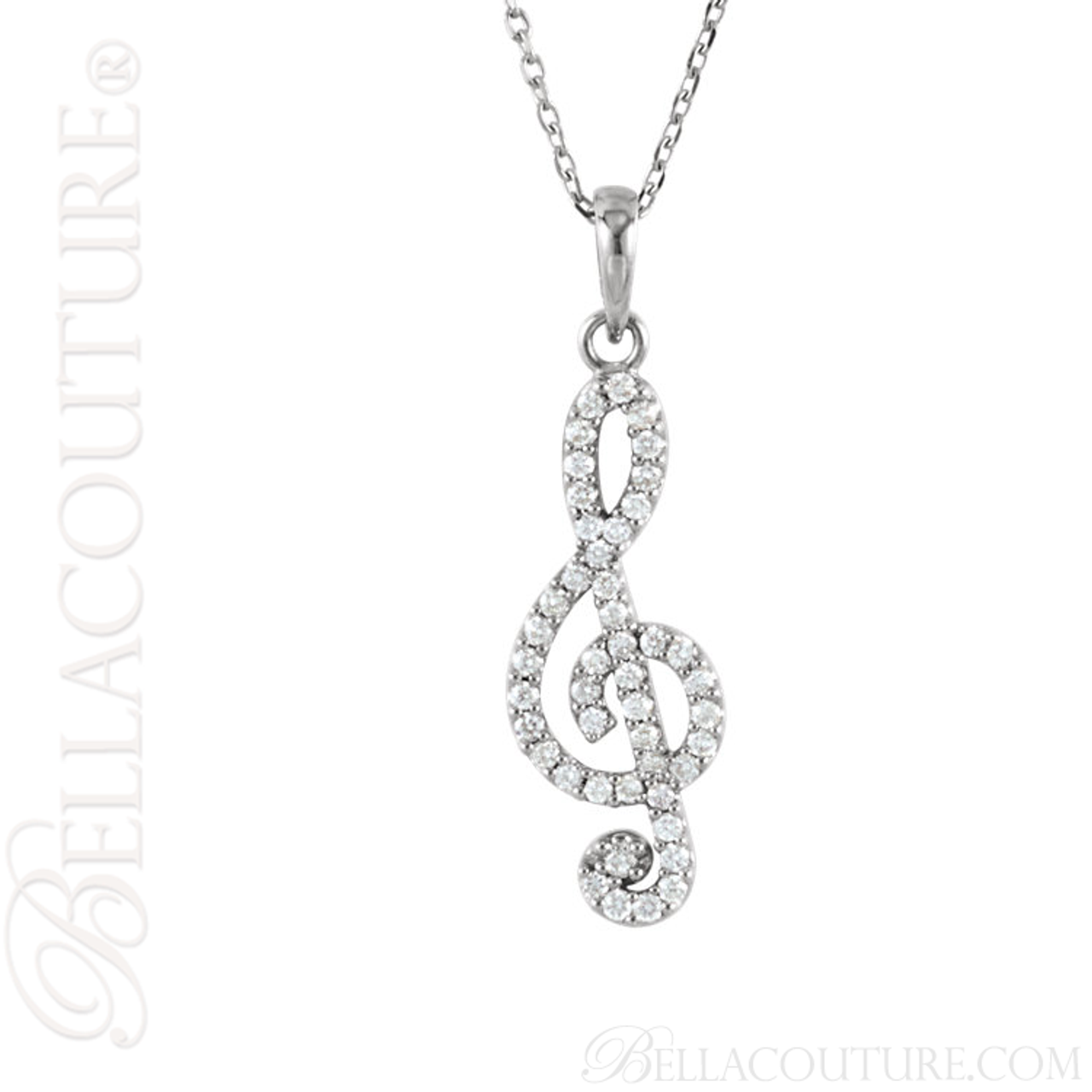 New bella couture fine petite treble clef diamond 14k white gold new bella couture fine petite treble clef diamond 14k white gold pendant necklace mozeypictures