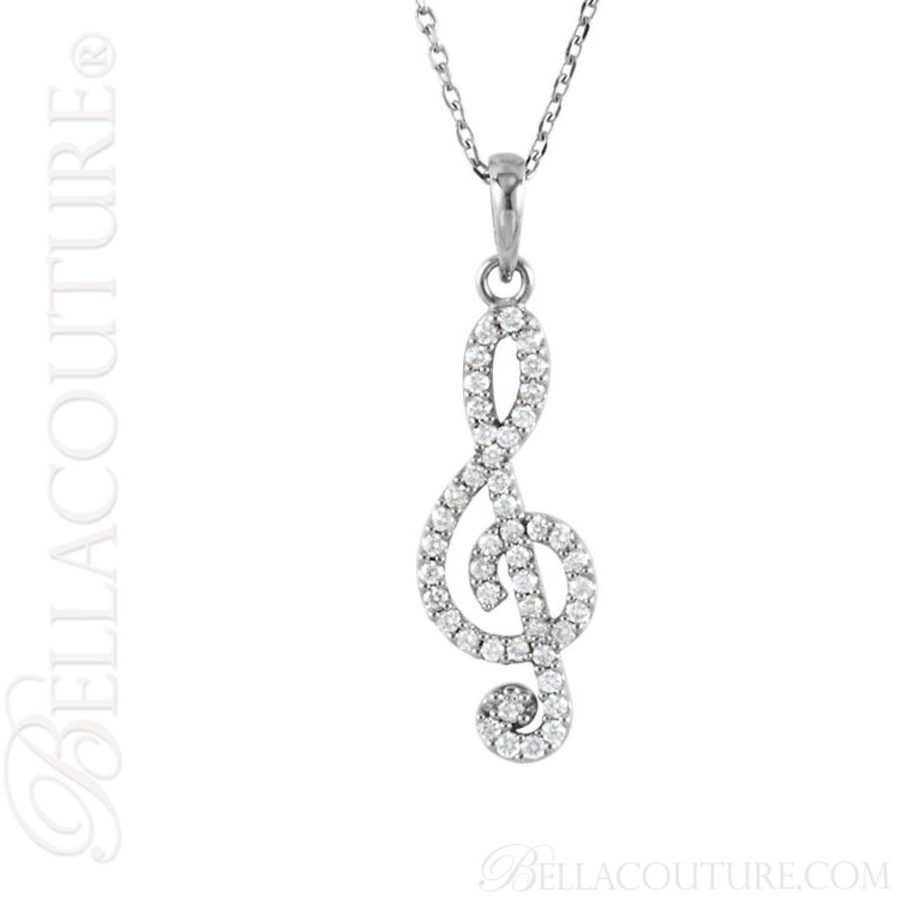 New bella couture fine petite treble clef diamond 14k white gold new bella couture fine petite treble clef diamond 14k white gold pendant necklace aloadofball Images