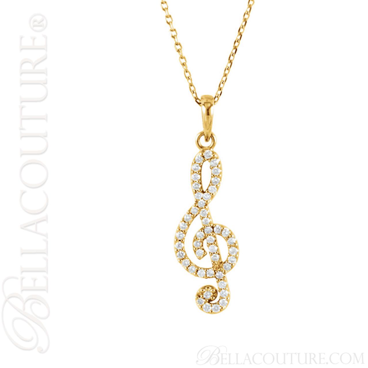 New bella couture fine petite treble clef diamond 14k yellow gold new bella couture fine petite treble clef diamond 14k yellow gold pendant necklace aloadofball Gallery