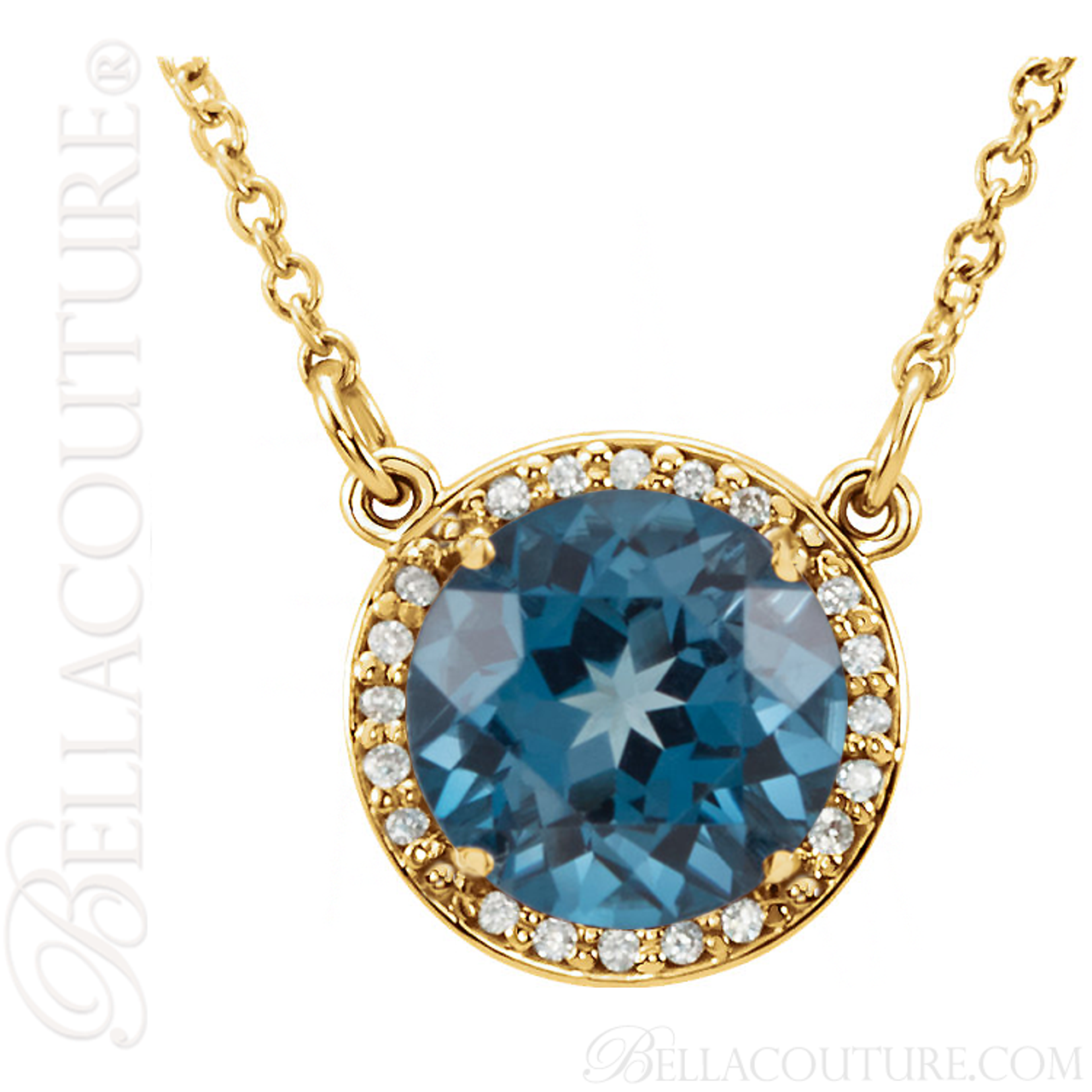gold brilliant blue gemstone diamond pendant white topaz