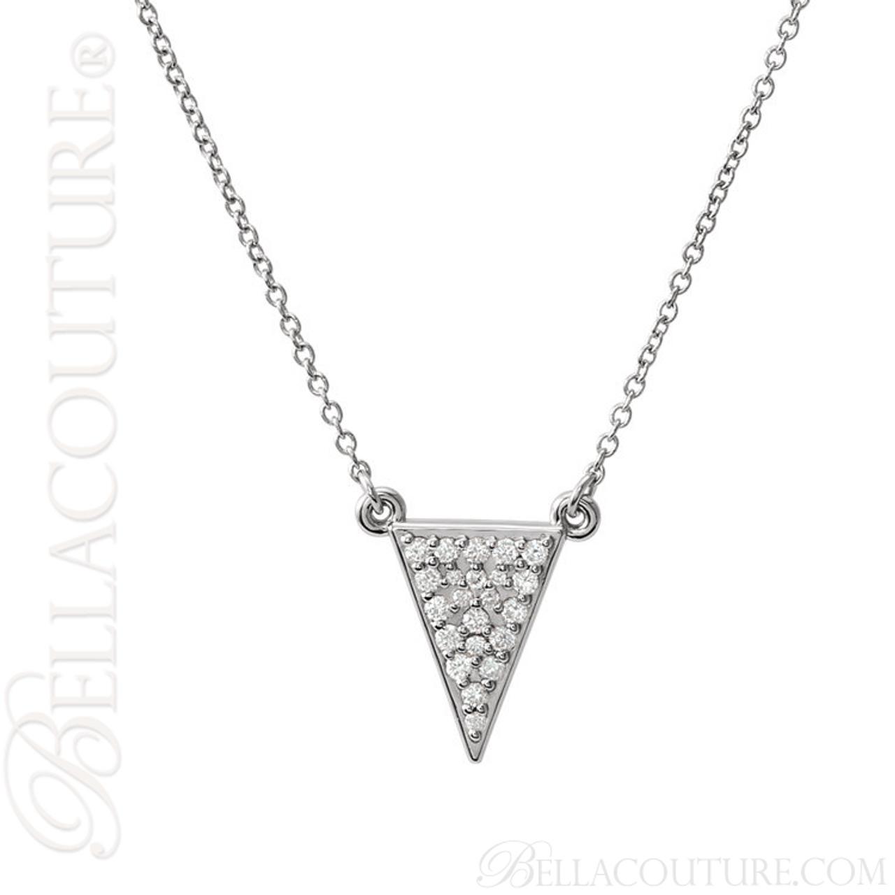 New bella couture dalani pave diamond 14k white gold triangle new bella couture dalani pave diamond 14k white gold triangle arrow pendant necklace aloadofball Images