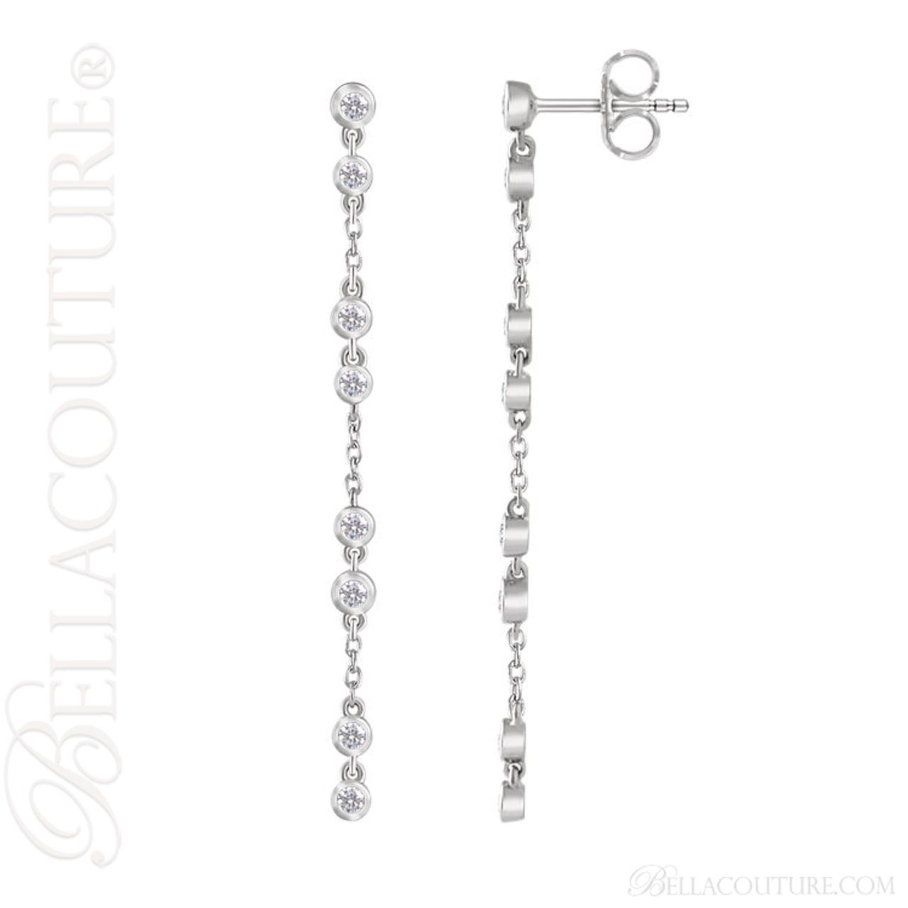 New bella couture waverly diamond 14k white gold chain dangle new bella couture waverly diamond 14k white gold chain dangle drop chandelier earrings aloadofball Gallery
