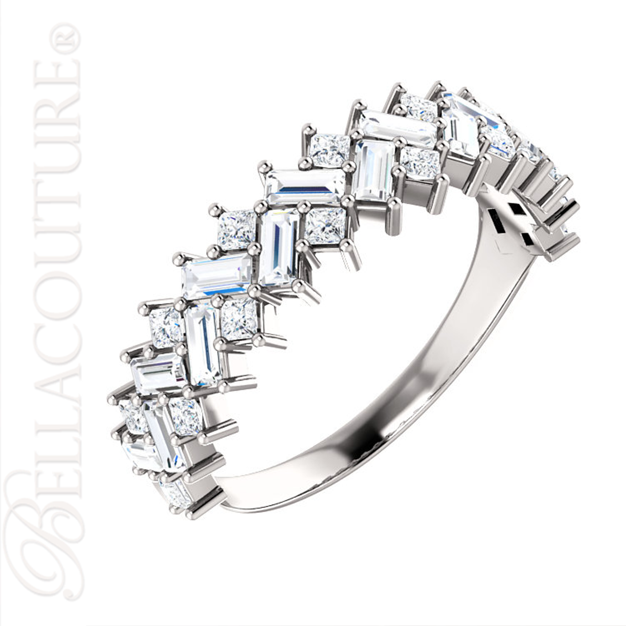 NEW) BELLA COUTURE ® BALISIMMA PLATINUM™ Baguette & Princess Cut 1CT ...