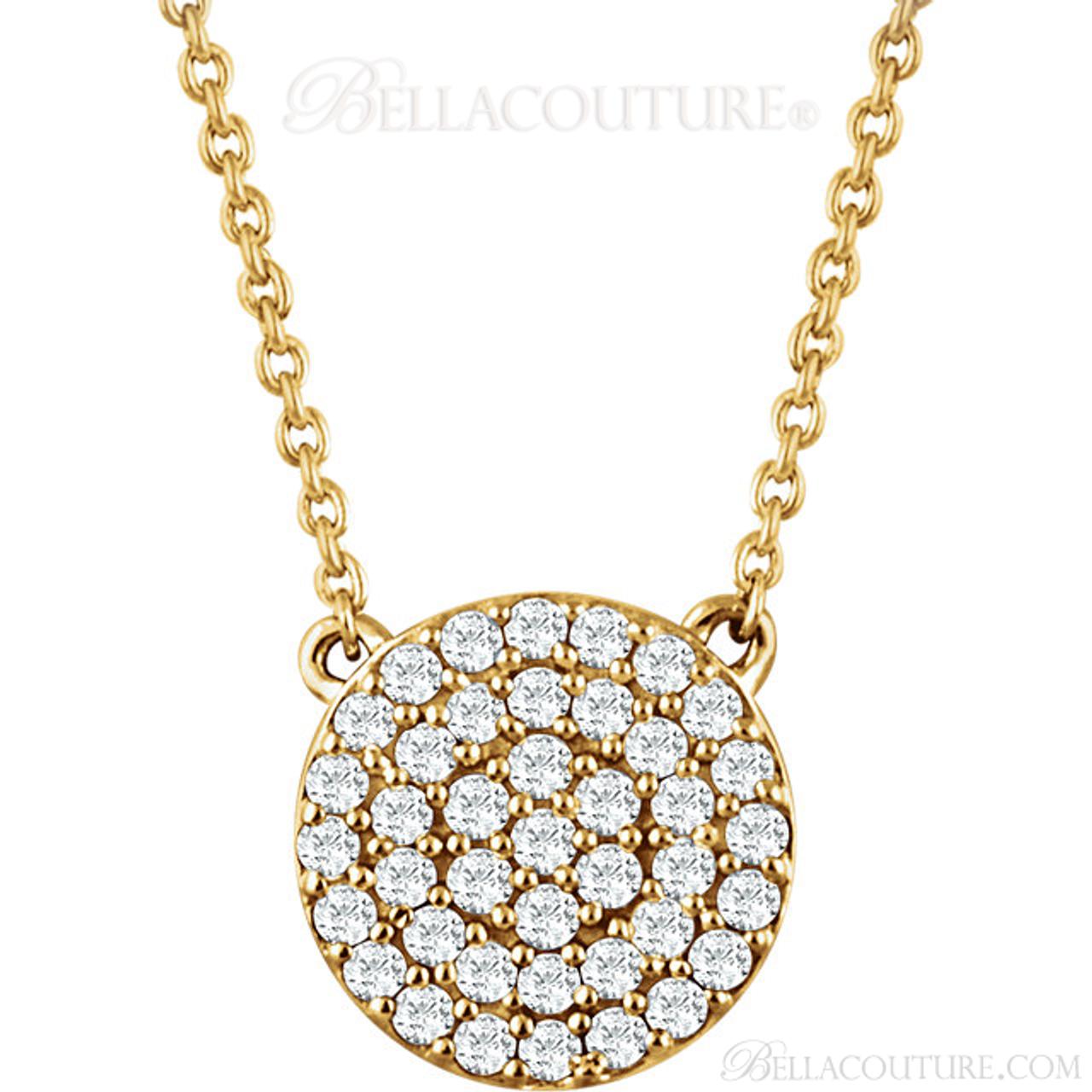 New bella couture cara gorgeous brilliant diamond 14k yellow gold new bella couture cara gorgeous brilliant diamond 14k yellow gold round pendant necklace aloadofball Choice Image
