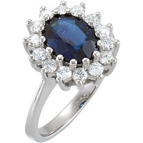(NEW) BELLA COUTURE BALMAN EXQUISITE BLUE SAPPHIRE 1/2 CT DIAMOND 14K WHITE GOLD ENGAGEMENT / ANNIVERSARY RING