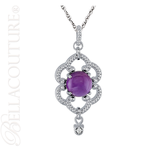 """(NEW) BELLA COUTURE ETRUSCAN COLLECTION FINE AMETHYST DIAMOND STERLING SILVER PENDANT NECKLACE (18"""" Inches)"""