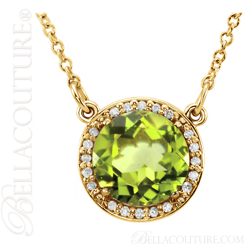 "(NEW) BELLA COUTURE OPHELIA FINE GORGEOUS PERIDOT GEMSTONE DIAMOND 14K YELLOW GOLD PENDANT NECKLACE (16"" Inches)"
