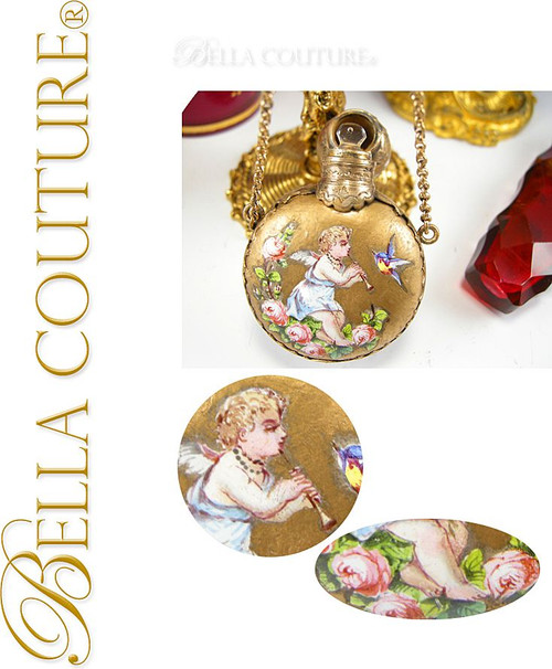 SOLD! - Gorgeous Antique French or Viennese Austrian Enameled Putti Gilt Chatelaine Scent Perfume Bottle Flacon Flask