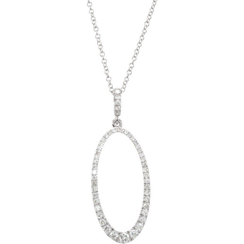 "(NEW) BELLA COUTURE Pave Diamond Oval Silhouette 14k White Gold Pendant Necklace (18"") (5/8 CT. TW.)"