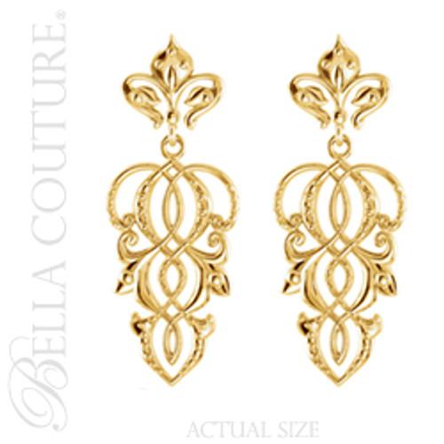 New Bella Couture Fine Fleur De Lis Filigree Dangle Drop Earrings In