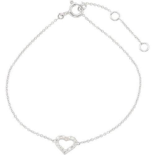 (NEW) BELLA COUTURE DEMURE DIAMOND HEART BRACELET in 14K White Gold