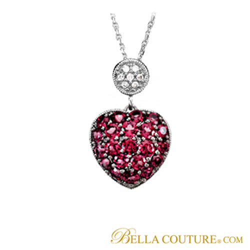 New bella couture pave diamond brazillian garnet 14k white gold new bella couture pave diamond brazillian garnet 14k white gold heart pendant with necklace mozeypictures Images