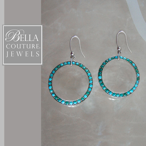 SOLD! - (ANTIQUE) Rare Gorgeous Victorian Pave Persian Turquoise Sterling Silver Hoop Dangle Drop Chandelier Earrings