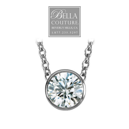 (NEW) Bella Couture Elegant .38CT Diamond Slide Solitaire Pendant Platinum Necklace with Chain 18""