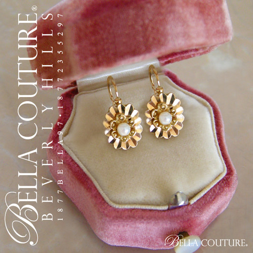 SOLD! - (ANTIQUE) Rare Gorgeous Victorian French 18K 18CT Yellow Gold Dormeuses Pearl (Back to Front) Lever Back Floral Flower Sleeper Earrings