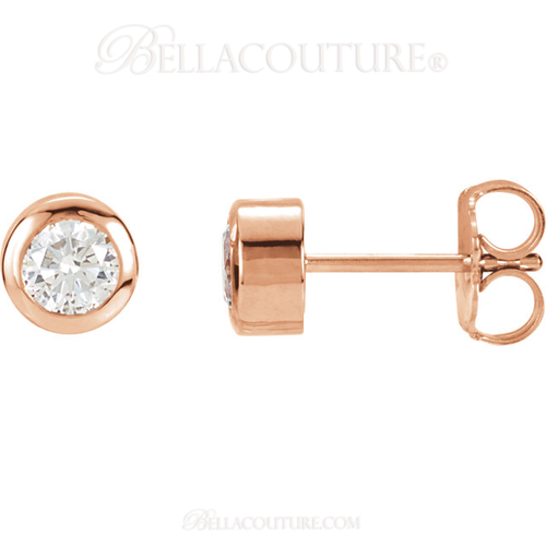 (NEW) Bella Couture Fine 1/3 CT Diamond 14k Rose Gold Classic Stud Earrings