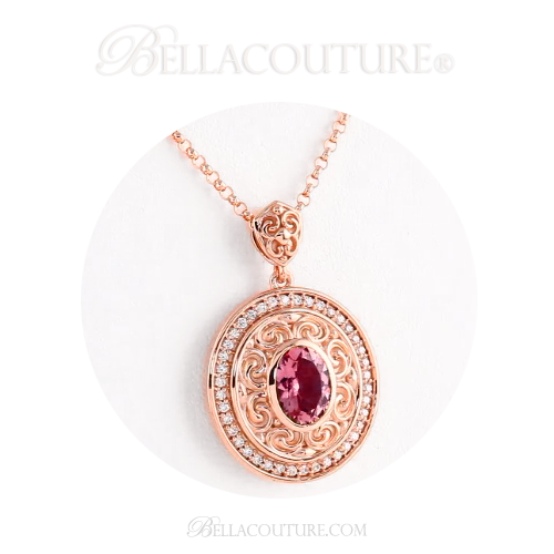 New bella couture fine pink tourmaline 15 ct diamond 14k rose gold new bella couture fine pink tourmaline 15 ct diamond 14k rose gold aloadofball Image collections