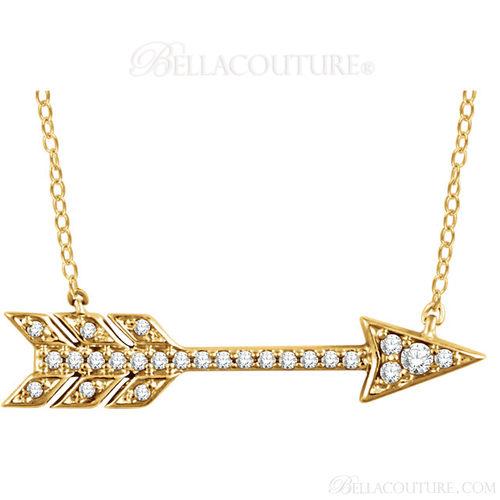 "(NEW) Bella Couture CARA Gorgeous Brilliant Round 1/10CT Diamond 14k Yellow Gold Fancy Arrow Pendant Necklace (Adjustable 18"", 17"", 16"" Inches in Length)"