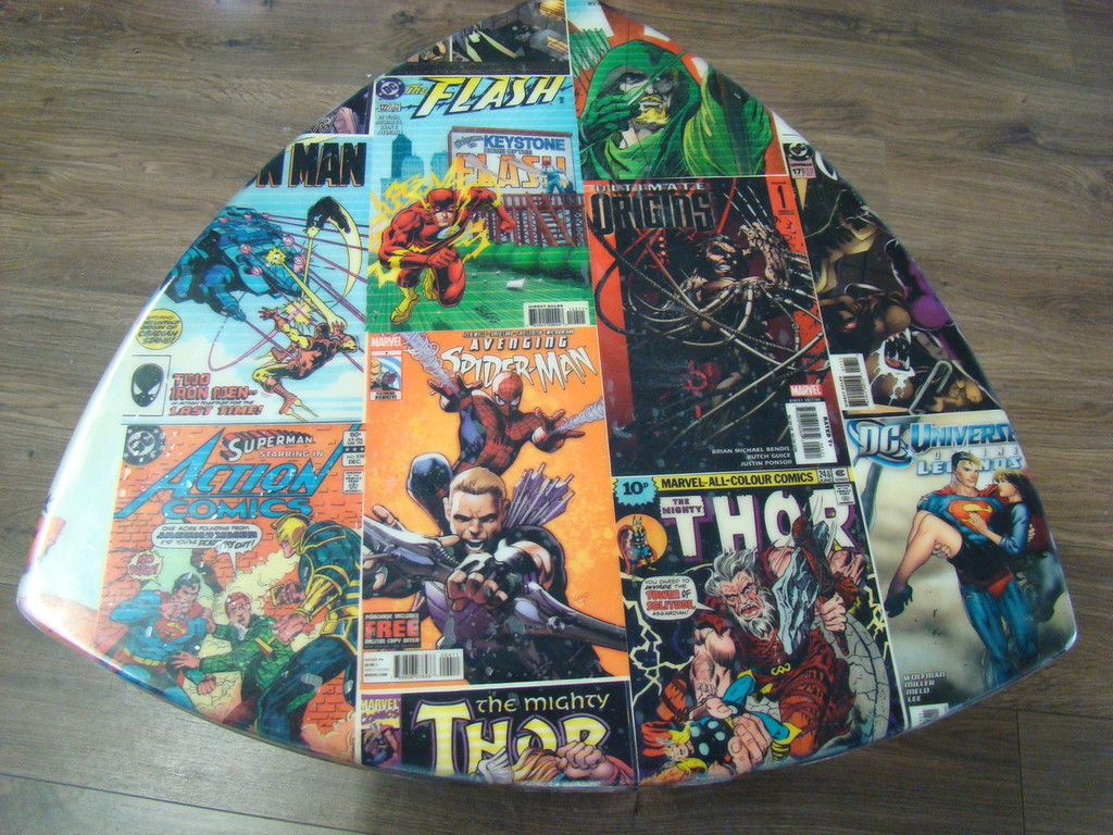 Retro DC Comic Book Table