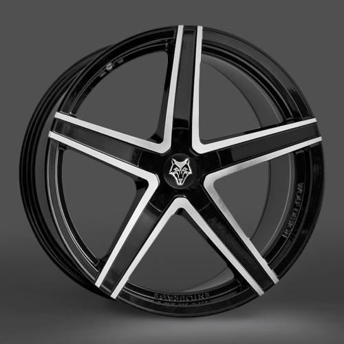 """20"""" Wolfrace Design Entourage Black Polish Face"""
