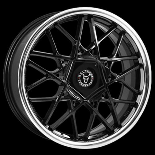 "18"" Alloy Wheels Wolfrace Eurosport Blitz - Black/ Stainless Steel Lip"