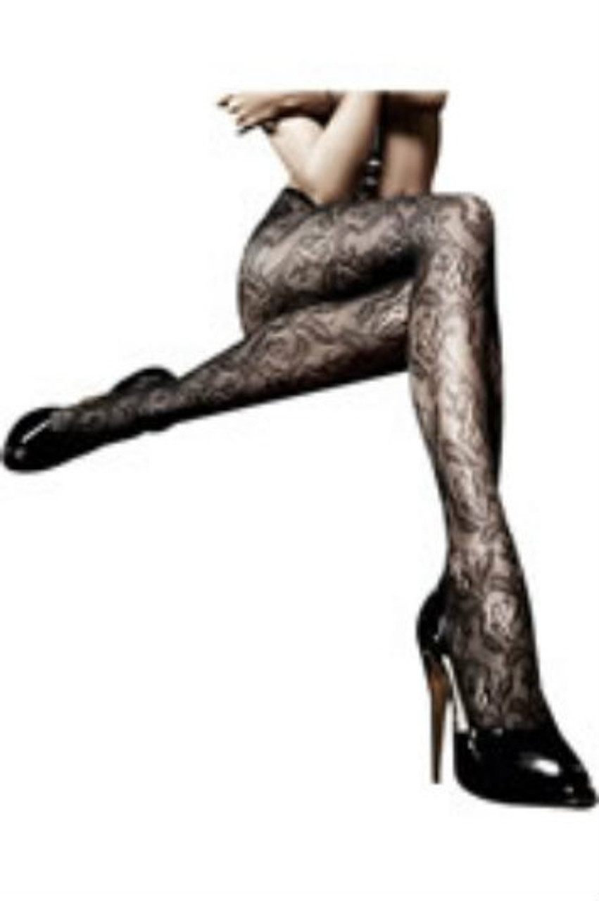 Seductive, black pantyhose made of a delicate, rich lace texture elegantly caresses you with transparency in the shape of an opulent floral pattern.   It promisingly and intimately showcases itself in a charming design that comes across as sexy and svelte. With a narrow cuff for a good fit.