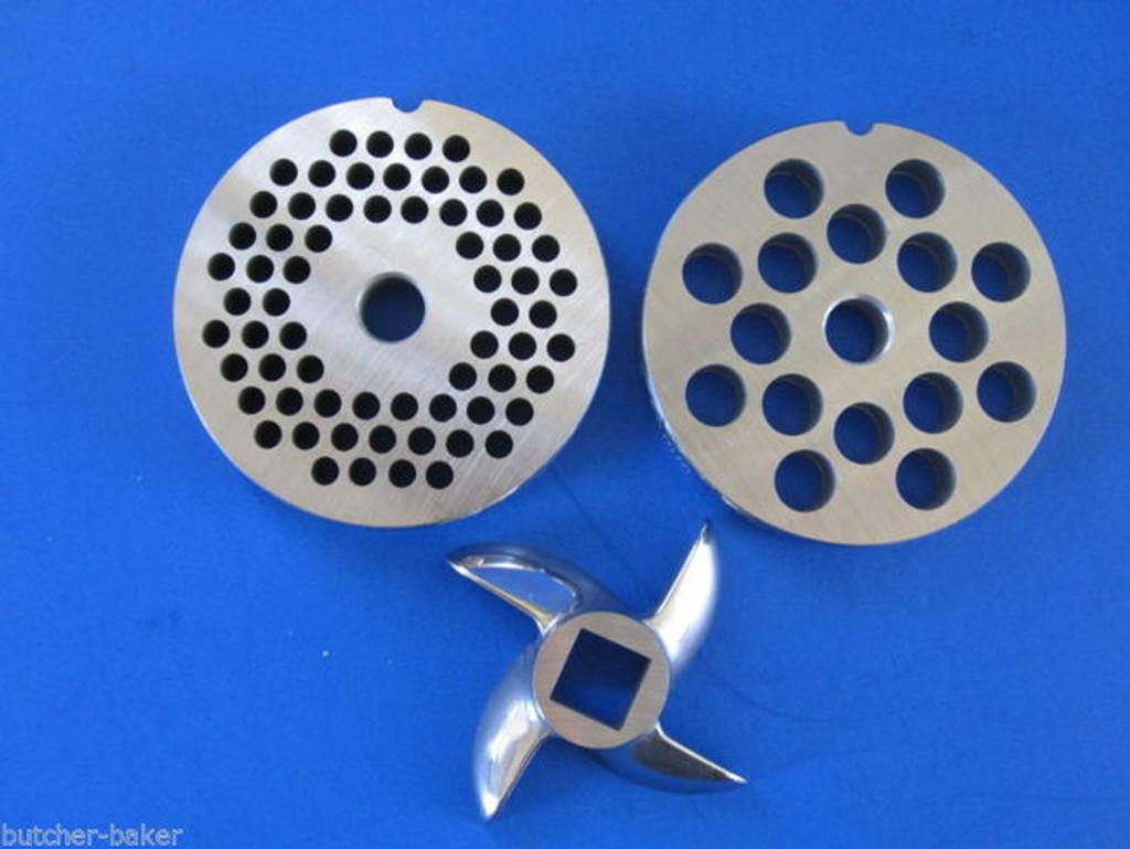 """COMBO KIT #12 (2 3/4"""")  Meat Grinder plates discs & KNIFE blade for Hobart etc"""