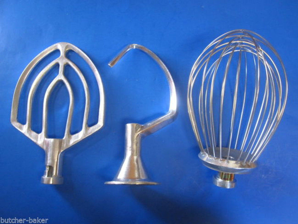 3 PC SET 12 Quart Bakery Mixer Dough Hook Wire Whip & Beater for Hobart A120