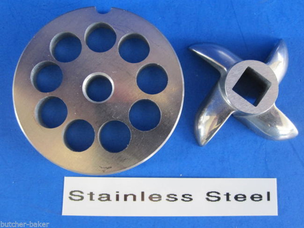 "#8 x 3/8"" DISC PLATE & KNIFE SET Meat Grinder Grinding Stainless Steel"