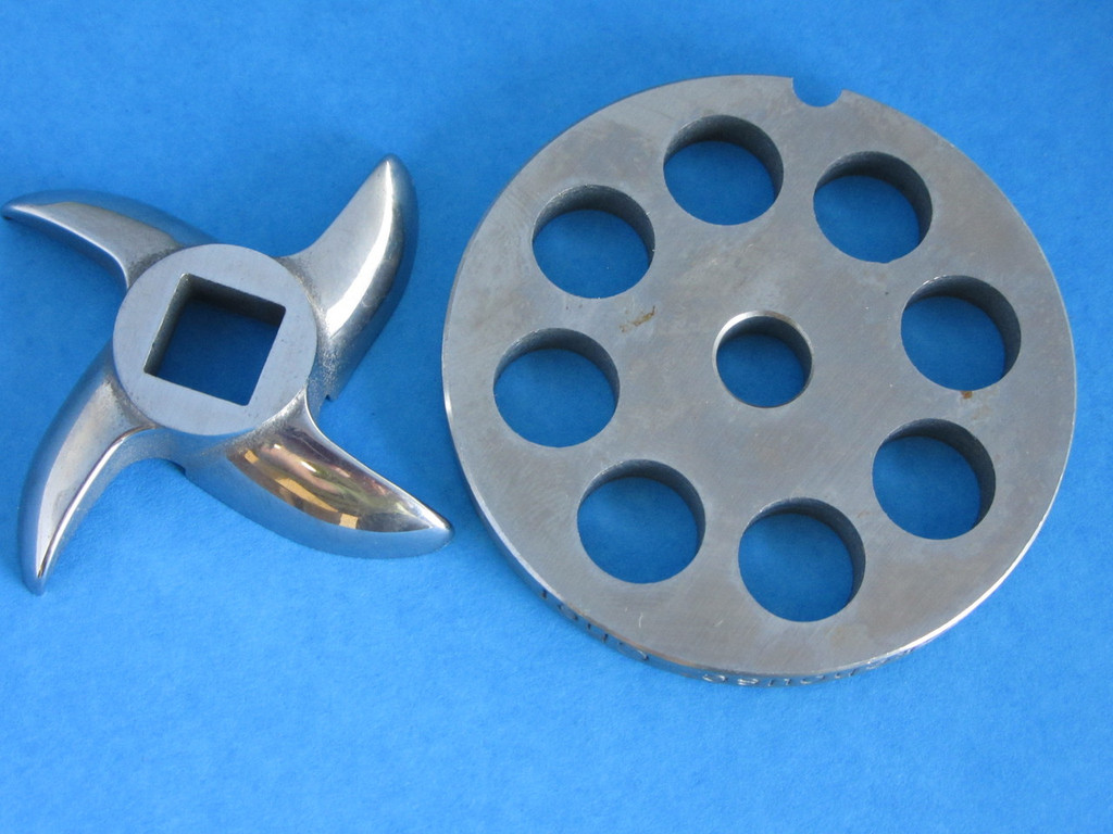 "#8 x 1/2"" DISC PLATE & KNIFE Meat Grinder Grinding SET *Stainless Steel*"